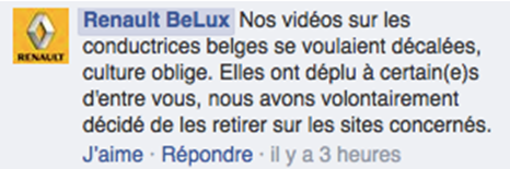 facebook renault belux pubs sexistes belgique