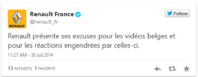 twitter renault france excuses pub sexiste renault twingo belgique